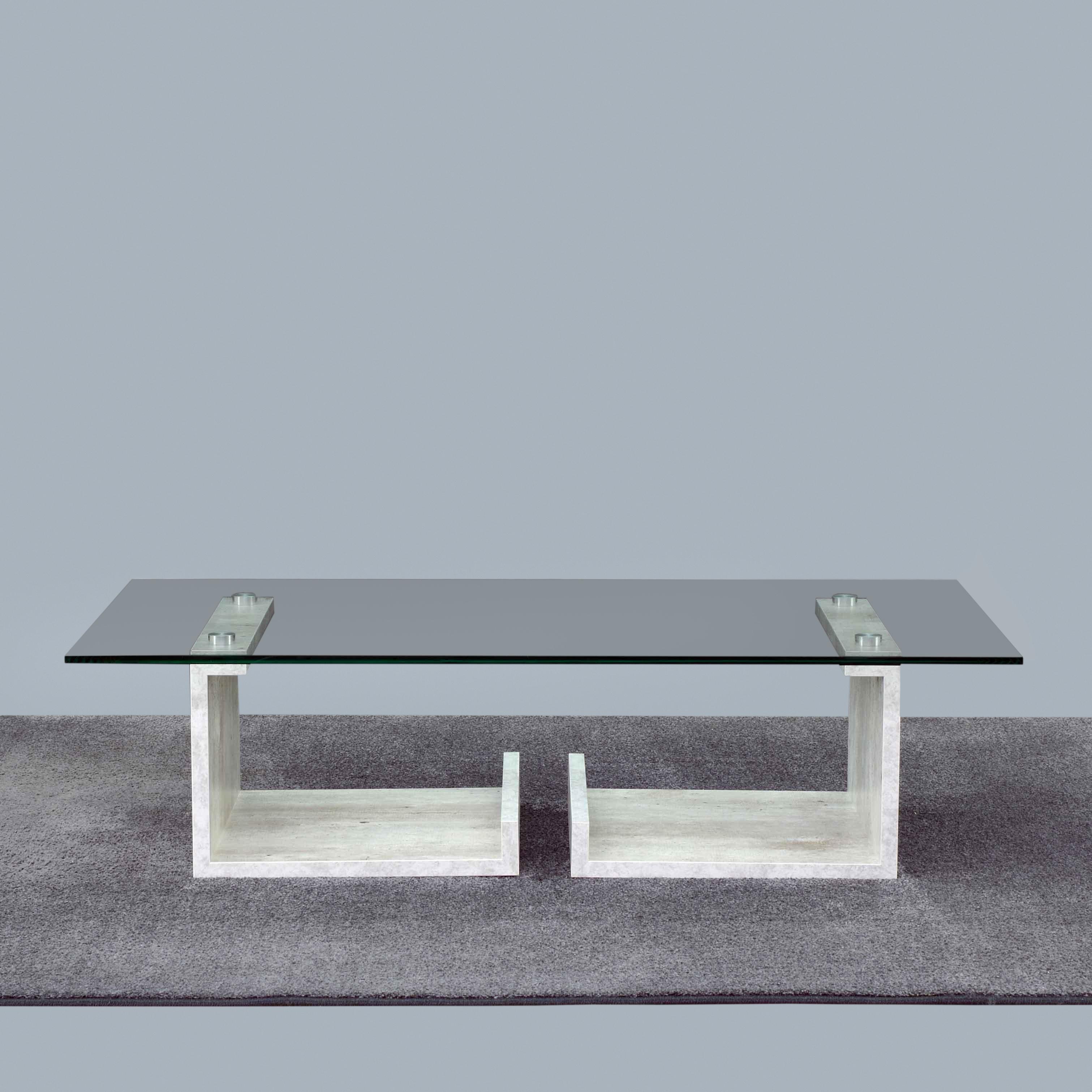 Letterato iCreo - Tavolino basso da salotto con piano in vetro