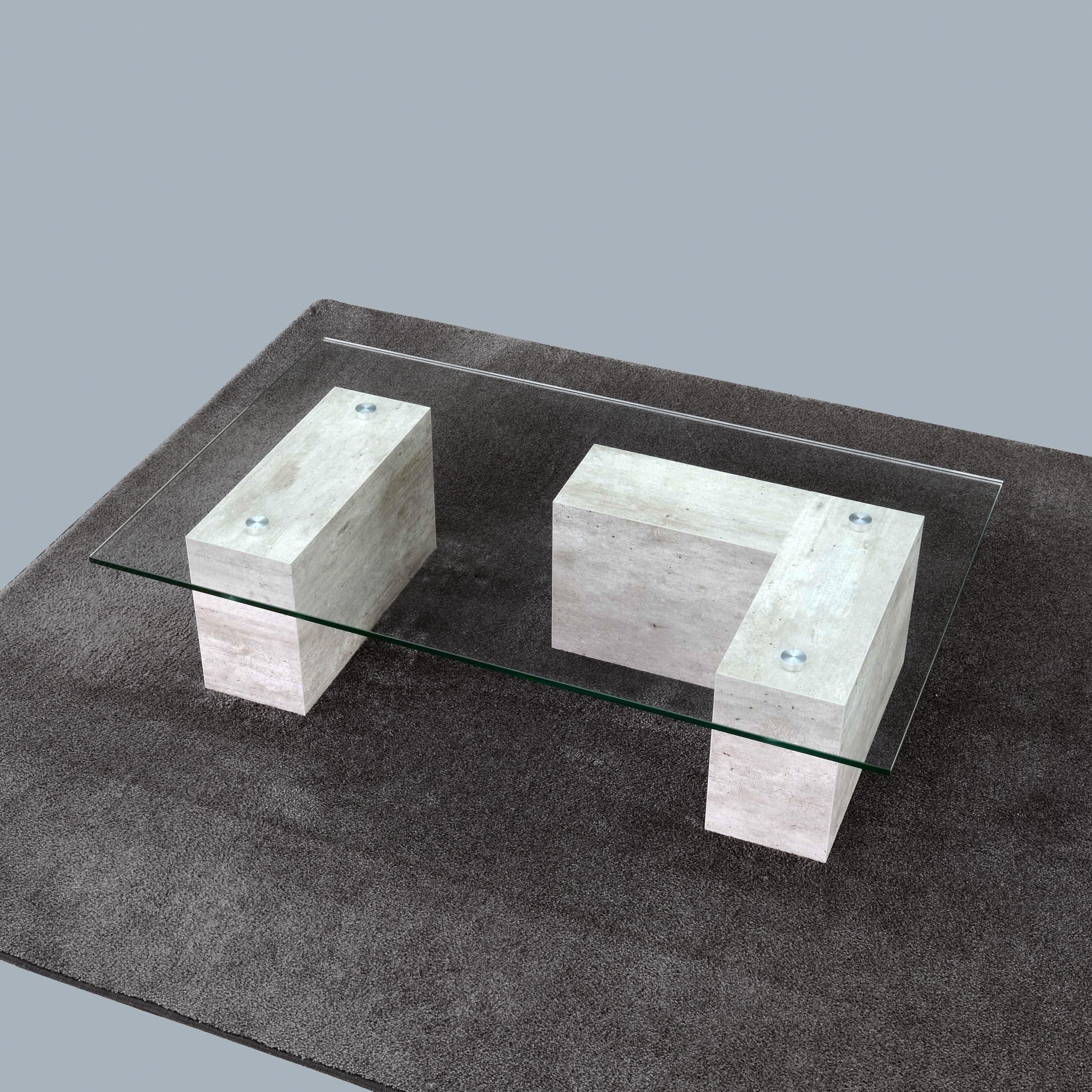 Muretto iCreo - Tavolino basso da salotto con piano in vetro