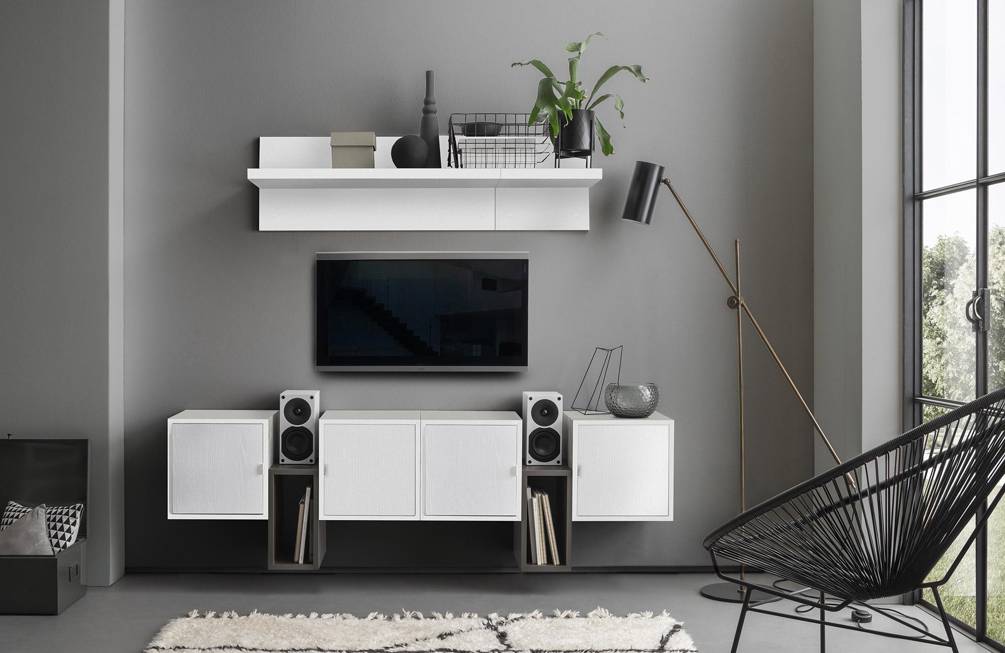 icreo Mensola da Soggiorno Porta TV MILEGO da cm 36 abbinabile con mobili Soggiorno MILEGO. Bianco frassinato